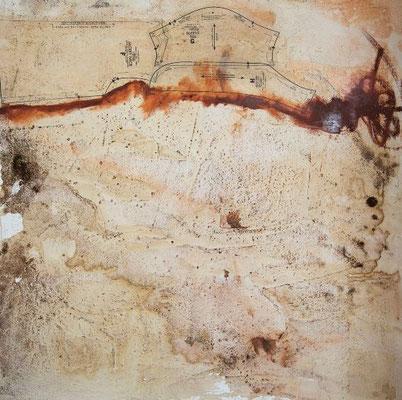 Partes De Mi | (46.75 x47 in) | oil stick, paper, cinnamon and coffee on canvas | SOLD