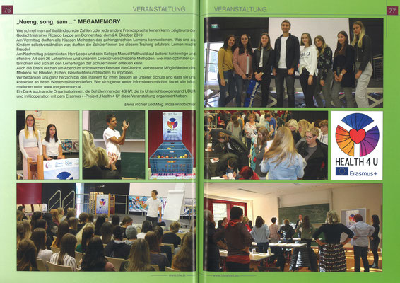 School report about Megamemory event at HLW St. Veit 2019 (german)