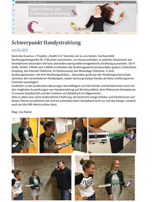 School report about cell phone experiments 2019 (german)