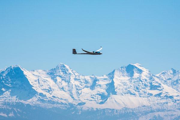 Blick vom Chasseral Richtung Eiger, Mönch umd Jungfrau