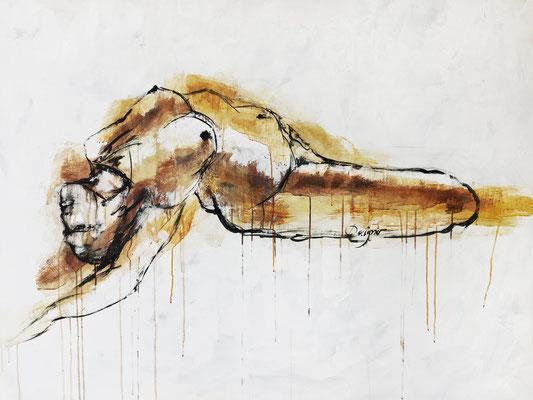 Sensualité, encre, fusain et acrylique, 42 x 58