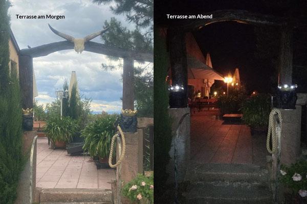 Zweierlei Ansicht unserer Terrasse | In normalen Zeiten bis zu 50 Sitzplätze