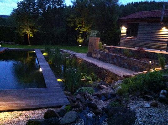Beleuchtung Garten mit Sauna und Schwimmteich - Gerolstein / Eifel