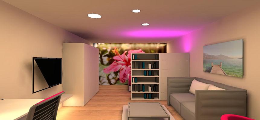 Mädchenzimmer mit wenig Tageslichteintrag