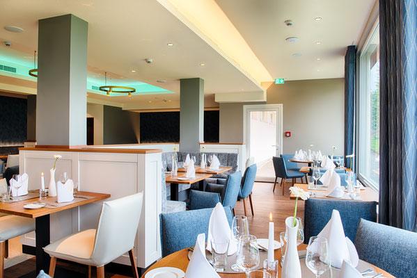 Restaurant Seehotel mit individuell einstellbaren Beleuchtungsszenen