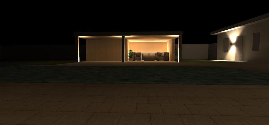 Stimmungvolle Beleuchtung einer Lounge im Außenbereich