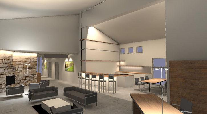 Privater Wohnraum mit Küche