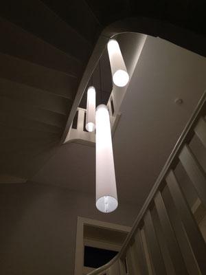 Beleuchtung Treppenhaus über mehrere Etagen, Einfamilienhaus Köln