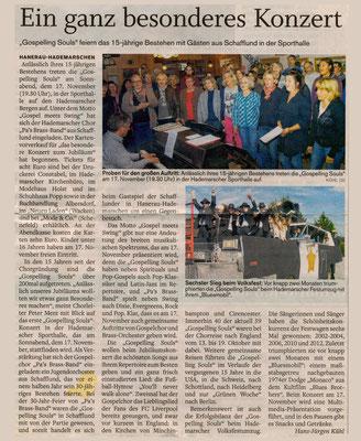 Bericht im Vorfeld des 15jährigen Chorjubiläums