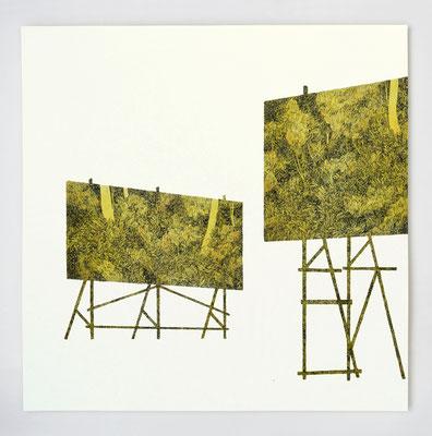 "VENDU - SOLD /// Diptyque ""INTERLUDE II"" _ encre et aquarelle _ 40x40cm"