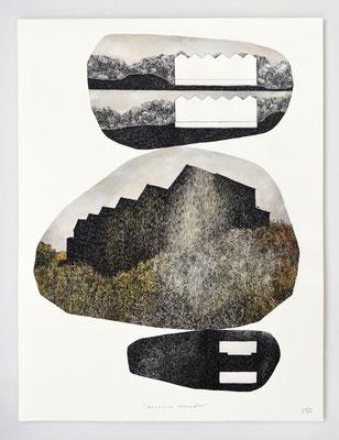 """VENDU - SOLD /// """"EMPREINTE PAYSAGERE"""" / Encre de chine et aquarelle / 65x50cm"""