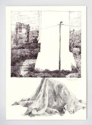 "VENDU - SOLD /// ""PARADE"" / Graphite & stylo / 21x29.7cm"