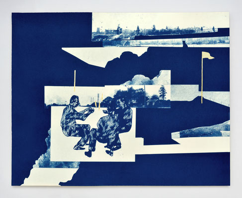 "Diptyque ""REPAIRE #02"" / cyanotype & dorure à l'or fin / 40x50cm / collaboration avec Macula Nigra"