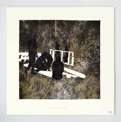 """VENDU - SOLD /// """"PIONNIERS"""" / encre de chine et aquarelle / 30x30cm"""