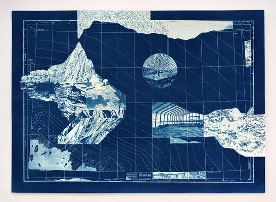 """diptyque """"RESERVE I"""" partie 1 _ cyanotype & dorure _ 50x70cm"""