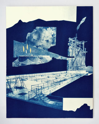 "Diptyque ""REPAIRE #02"" / cyanotype & dorure à l'or fin / 30x40cm / collaboration avec Macula Nigra"