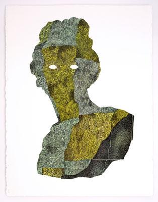 """VENDU - SOLD /// """"FOLKLORE IV"""" / Encre et aquarelle sur papier / 76x56cm"""