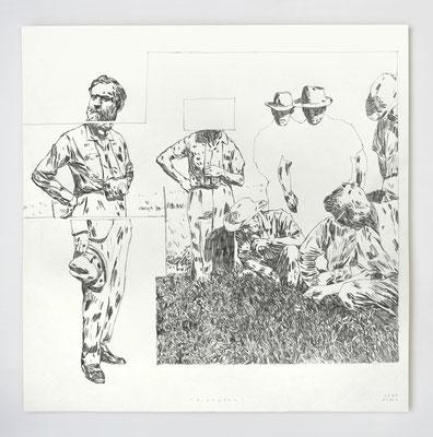 "VENDU /// ""PIONNIERS 03"" / Dessin original - Graphite / 50x50cm"