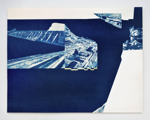 """REPAIRE #01"" / cyanotype & dorure à l'or fin / 30x40cm / collaboration avec Macula Nigra"
