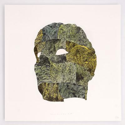 """VENDU - SOLD /// """"FOLKLORE III"""" / Encre et aquarelle sur papier / 40x40cm"""