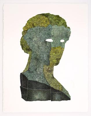 """VENDU - SOLD /// """"FOLKLORE VI"""" / Encre et aquarelle sur papier / 76x56cm"""