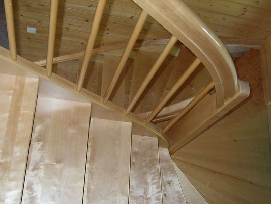 Halbgewendelte Treppe mit dreieckiger Podeststufe in Birke massiv lackiert
