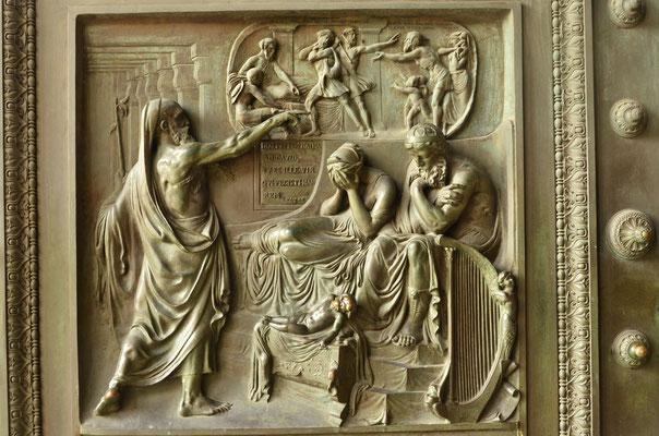 Le prophète Nathan reproche leur adultère à David et Bethsabée (église de la Madeleine, Paris)