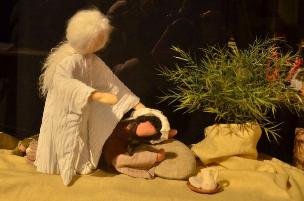 Un ange visite le prophète Elie découragé (exposition à la collégiale St-Martin à Colmar, décembre 2017)