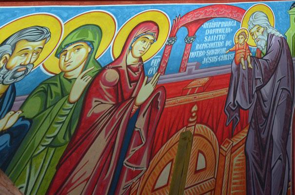 Siméon reconnaît en Jésus le Messie (église orthodoxe de Pulversheim, Haut-Rhin)