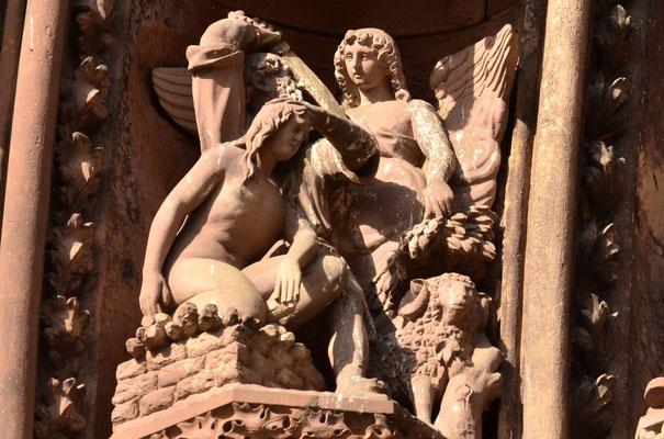 L'ange de Dieu empêche Abraham de sacrifier son fils (Cathédrale de Strasbourg)