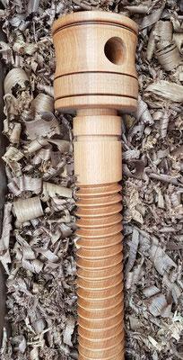 Holzspindel,  wooden vise screw, wood vise screw, thread chasing, Holzgewinde schneiden. vis de vice en bois