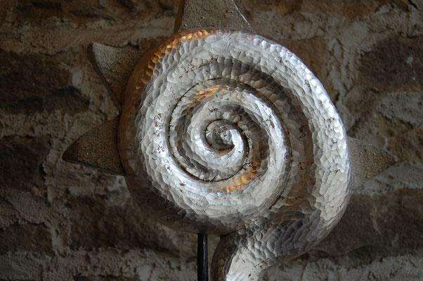 """""""Stellar"""" - 2012,mit Sockel 75cm hoch, Linde, Silber, Quarzsand"""