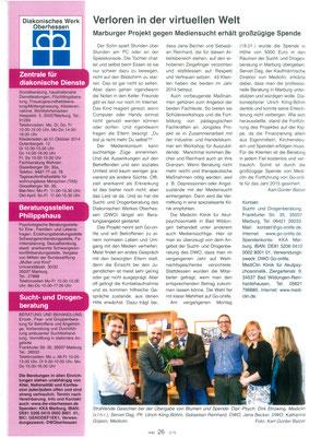 Kirche in Marburg - Überreichung einer Geldspende durch Fachklinik Mediclin