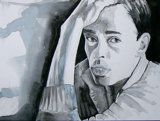 008 Jacques Brel - watercolour - 30 x 40 cm