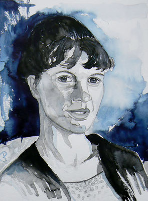 012 Sylvia Plath - watercolour - 30 x 40 cm
