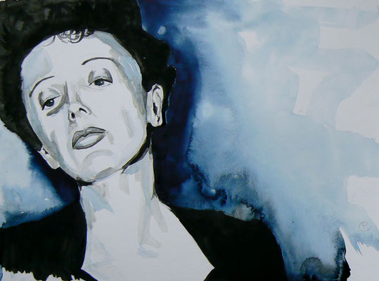 009 Edith Piaf - watercolour - 30 x 40 cm