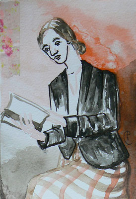 007 - She reads to me - Mixed Media - 10,5 x 15,5 cm