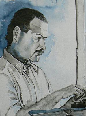010 - Ernest Hemingway - Watercolour - 30 x 40 cm