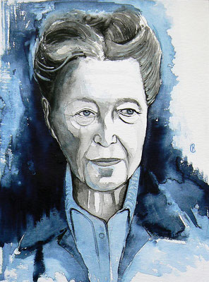 008 - Simone de Beauvoir - Watercolour - 30 x 40 cm