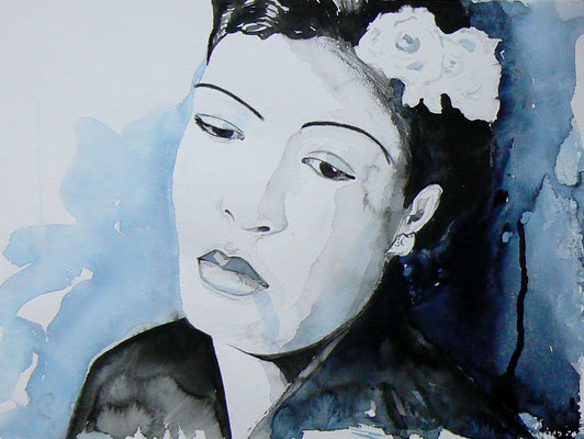 016 Billie Holiday - watercolour - 30 x 40 cm