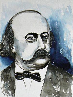 002 - Gustave Flaubert - Watercolour - 30 x 40 cm