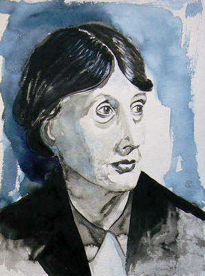 004 Virginia Woolf - watercolour - 30x 40 cm