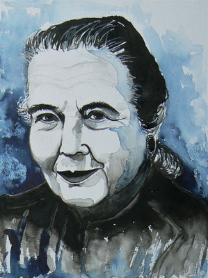006 - Marguerite Yourcenar - Watercolour - 30 x 40 cm
