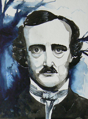 005 - Edgar Allan Poe - Watercolour - 30 x 40 cm