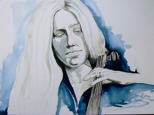 010 Jacqueline Du Pré - watercolour - 30 x 40 cm