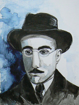 011 - Fernando Pessoa - Watercolour - 30 x 40 cm