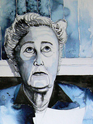 016 - Agatha Christie - Watercolour - 30 x 40 cm