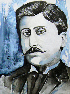 015 - Marcel Proust - Watercolour - 30 x 40 cm