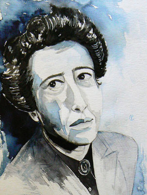 014 - Hannah Arendt - Watercolour - 30 x 40 cm