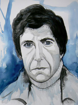 014 Leonard Cohen - watercolour - 30 x 40 cm